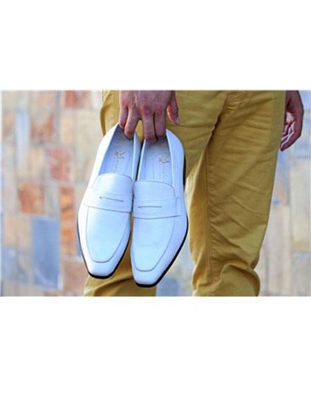 Mens White Slip On Shoe