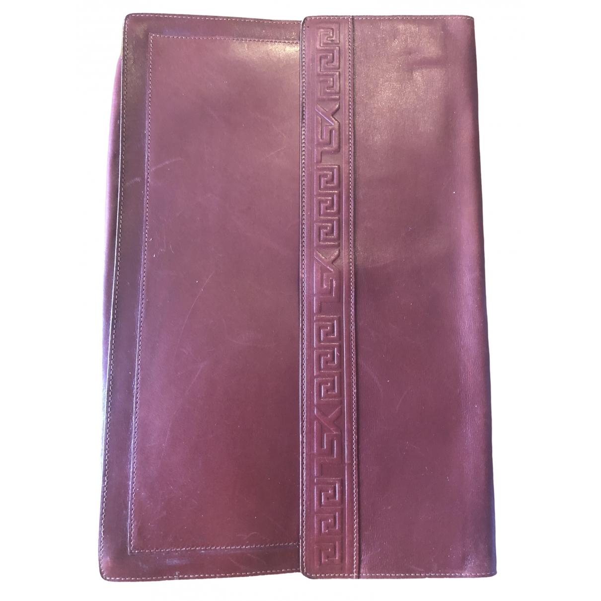 Yves Saint Laurent \N Burgundy Leather Small bag, wallet & cases for Men \N
