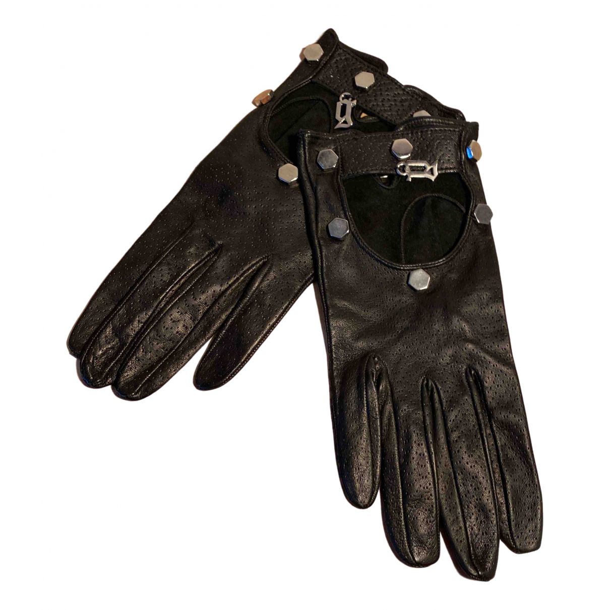 John Galliano \N Black Leather Gloves for Women M International