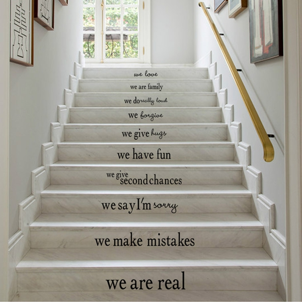 Amusing Simple Family Inspiration Words on Stair Decorative Wall Stickers