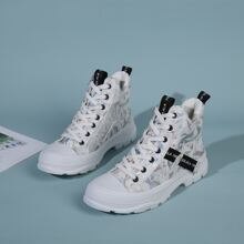 Letter Tape Decor Lace-up Front Sneakers