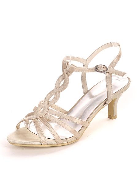 Milanoo Ivory Wedding Shoes Satin Open Toe Buckle Kitten Heel Bridal Shoes