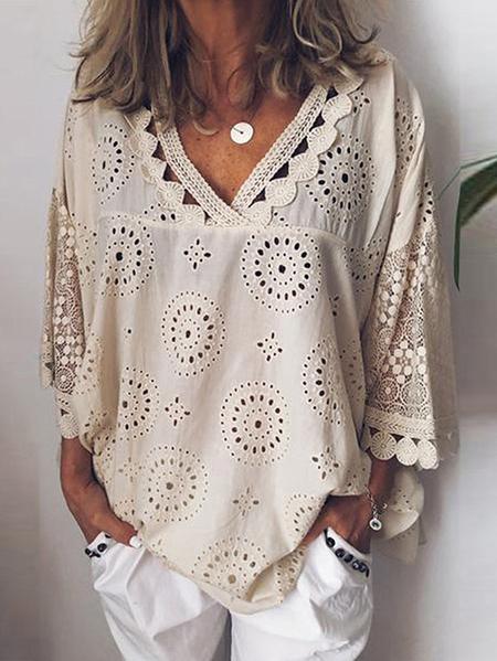 Yoins Hollow Design Lace Mesh Patchwork V-neck 3/4 Length Sleeves Blouse
