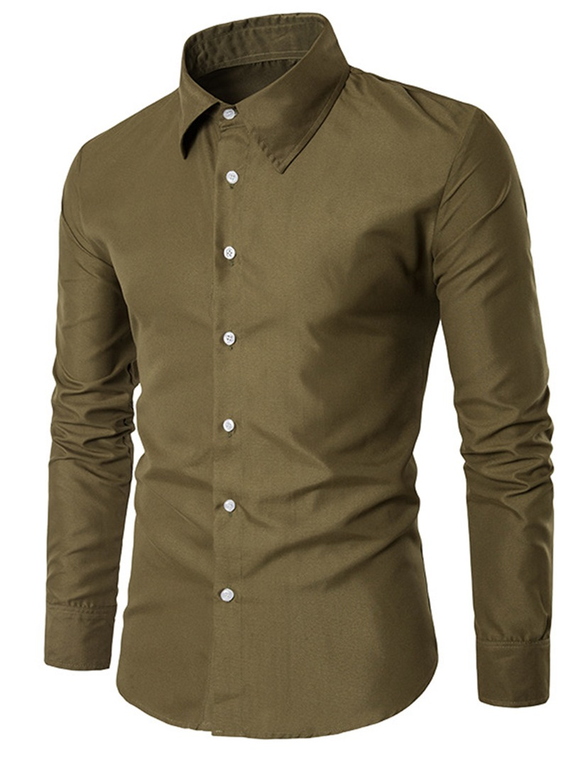 Ericdress Men's Plain Slim Fit Business Dress Shirts
