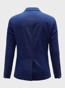 Men Plaid Button Front Blazer