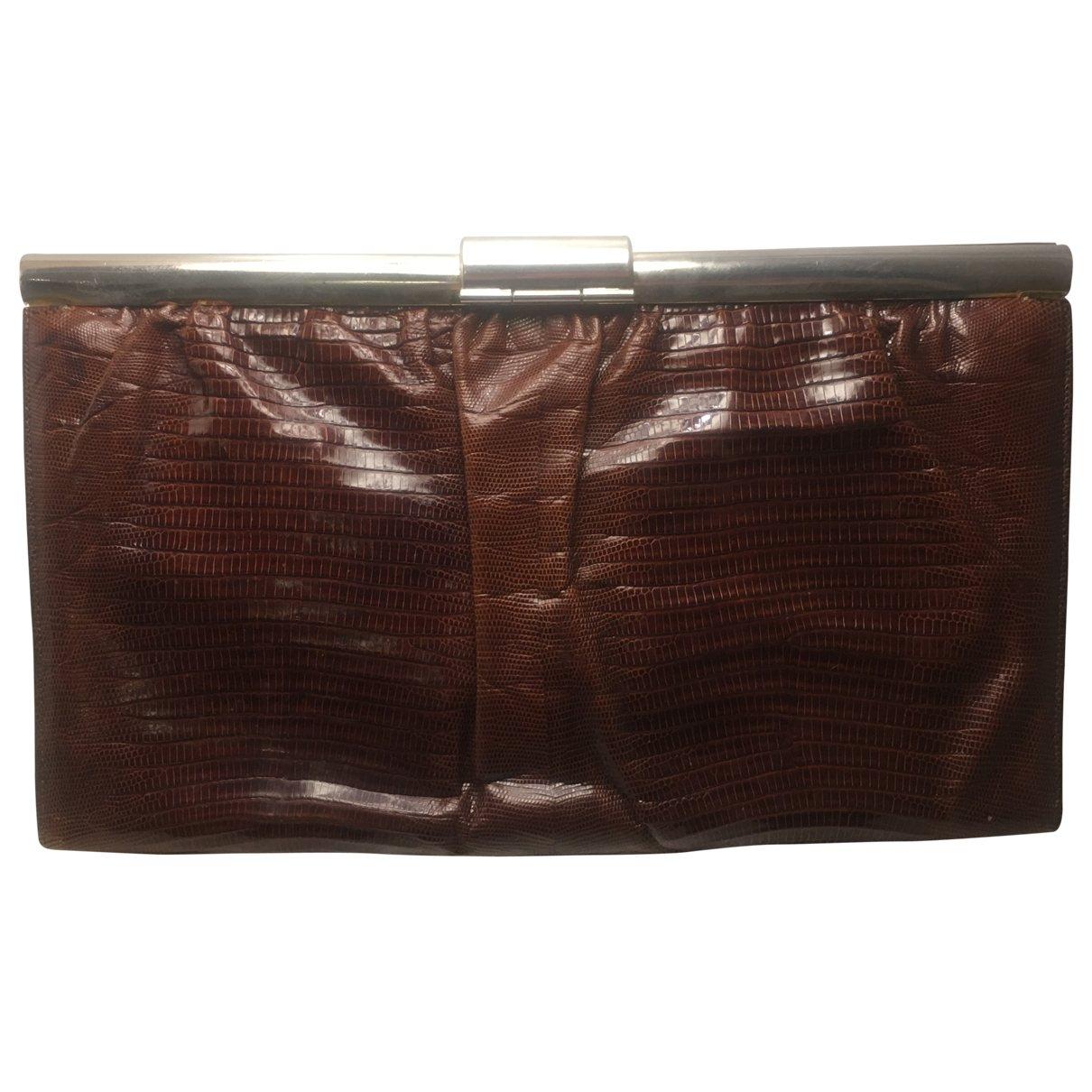 Loewe \N Brown Lizard Clutch bag for Women \N