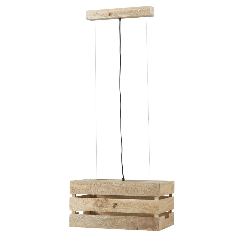 Haengeleuchte mit Kisten-Optik aus Mangoholz