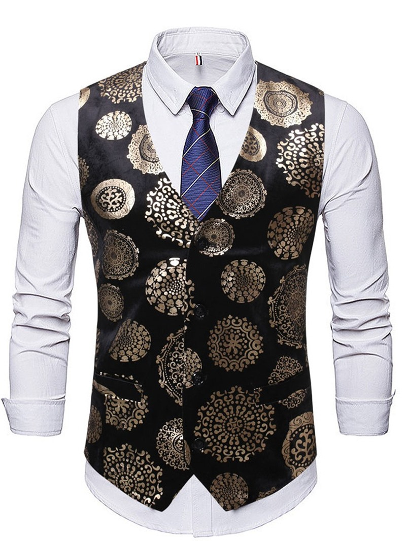 Ericdress V-Neck Color Block Print Spring European Men's Waistcoat