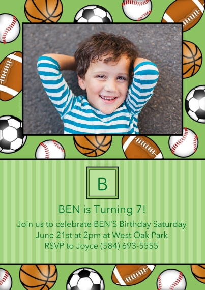 Kids Birthday Party Invites 5x7 Cards, Premium Cardstock 120lb, Card & Stationery -Sporty Monogram