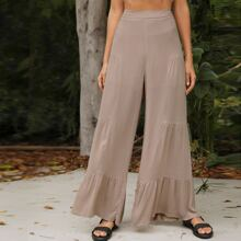 Wide Leg Ruched Panel Pants