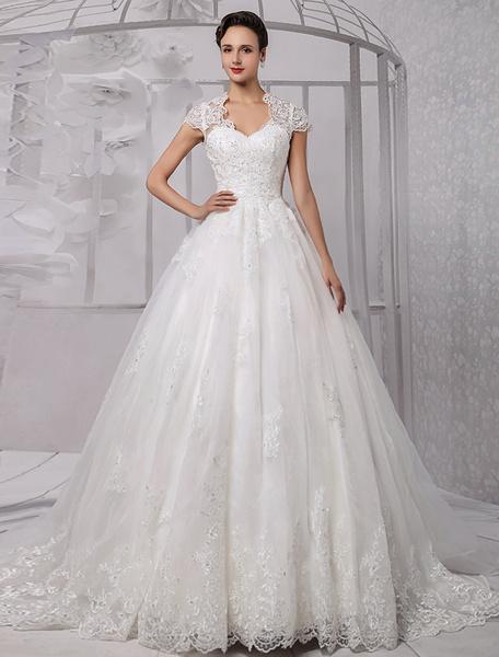 Milanoo Vestidos de novia vestido de bola de encaje vestido de novia rebordear casquillo manga vestido de novia de marfil con el tren
