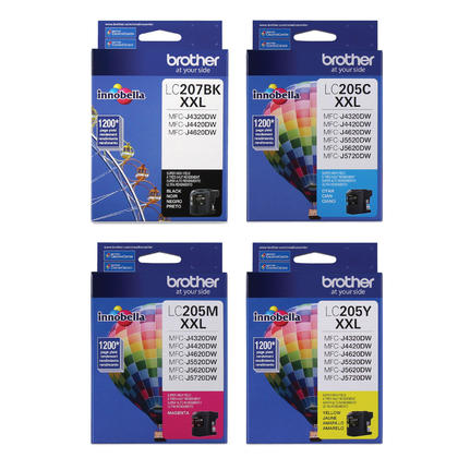 Brother LC207 LC205 Original Ink Cartridge Combo Extra High Yield BK/C/M/Y
