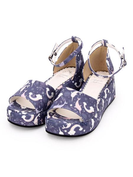 Milanoo Sandalias Lolita Sweet Print Tobillo Correa PU Blanco Lolita Zapatos de plataforma