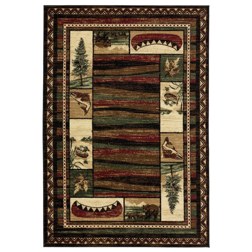 Wild Life Collection Black/Brown Area Rug (5' x 8')