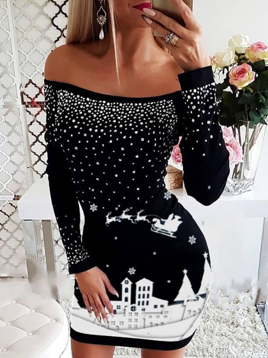 LW Lovely Trendy Dew Shoulder Print Hot Drilling Decorative Black Mini Dress