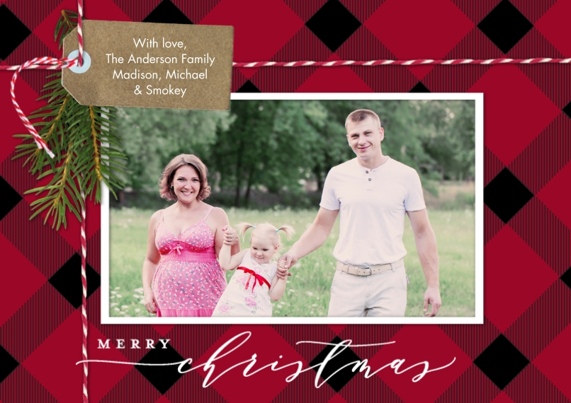 Christmas Photo Cards Mail-for-Me Premium 5x7 Flat Card, Card & Stationery -Christmas Tag Bakers String by Tumbalina