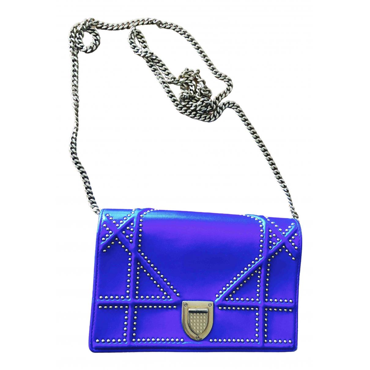 Dior Diorama Clutch in  Blau Leder