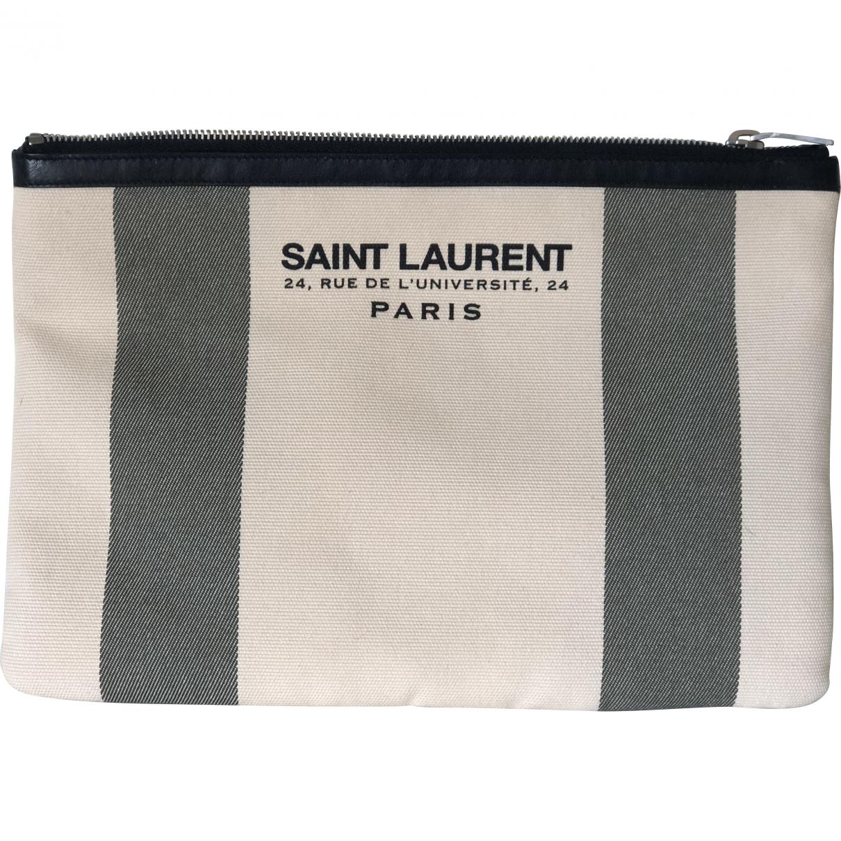 Saint Laurent - Pochette   pour femme en toile - beige