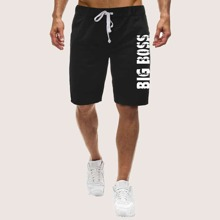 Guys Letter Graphic Drawstring Waist Athletic Shorts