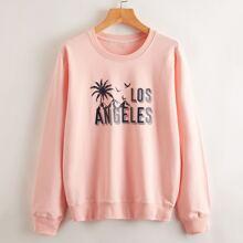 Sweatshirt mit tropischem und Buchstaben Grafik