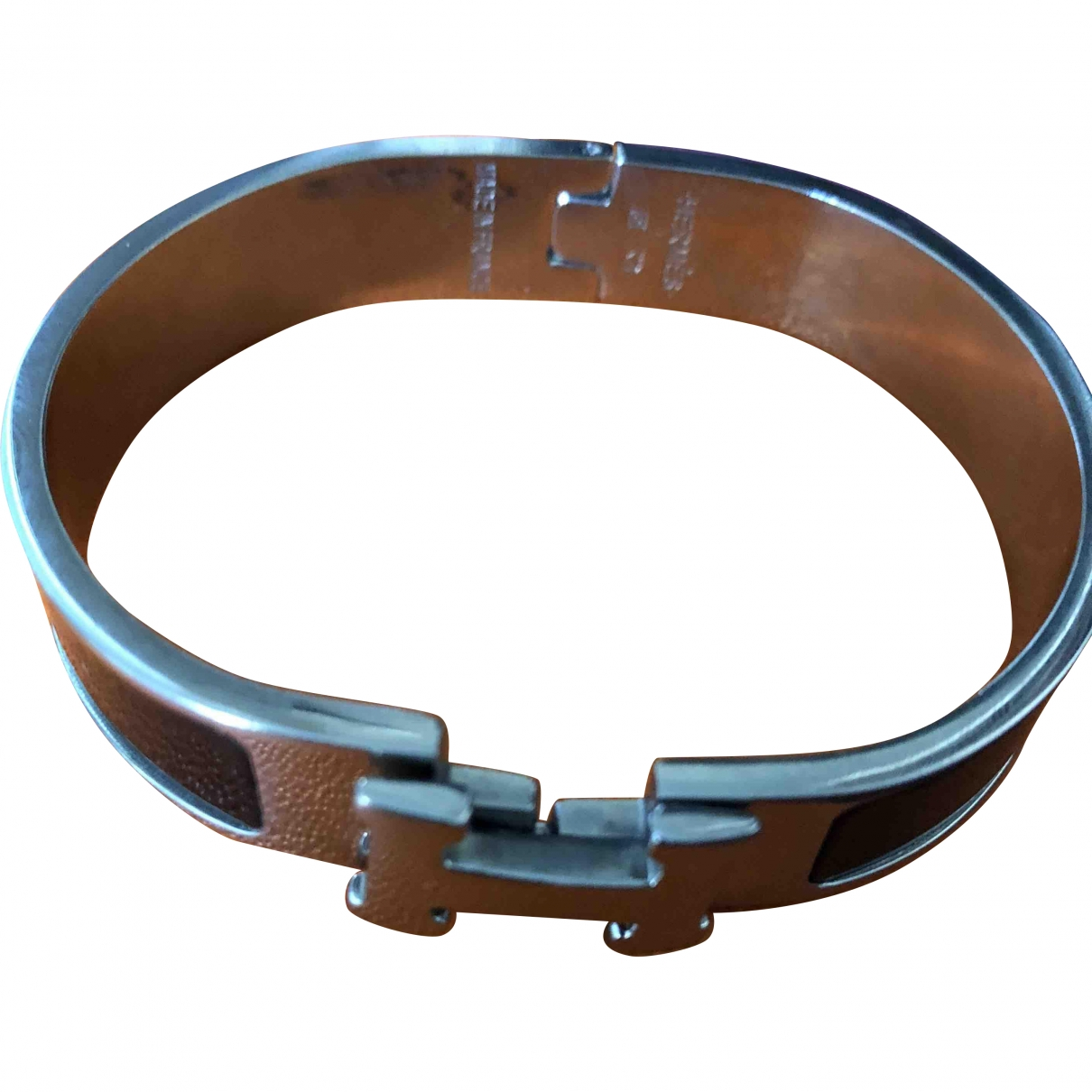 Hermes Clic H Armband in  Schwarz Metall