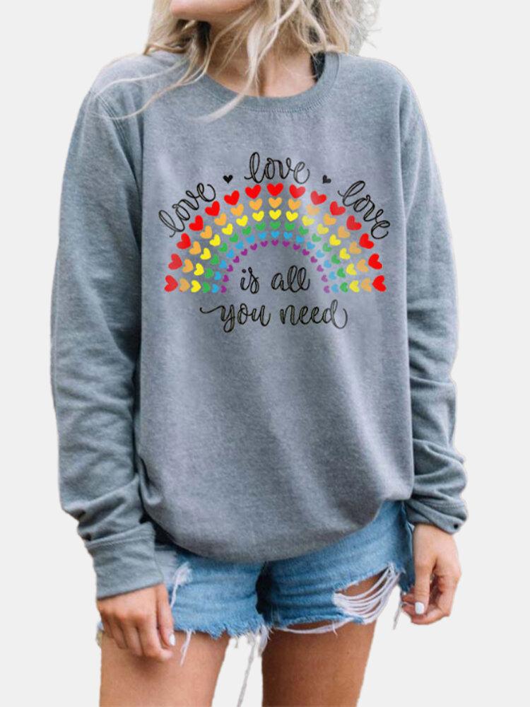 Heart Rainbow Letter Print Long Sleeve Casual Sweatshirt For Women