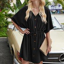 Button Through Drawstring Waist Dress