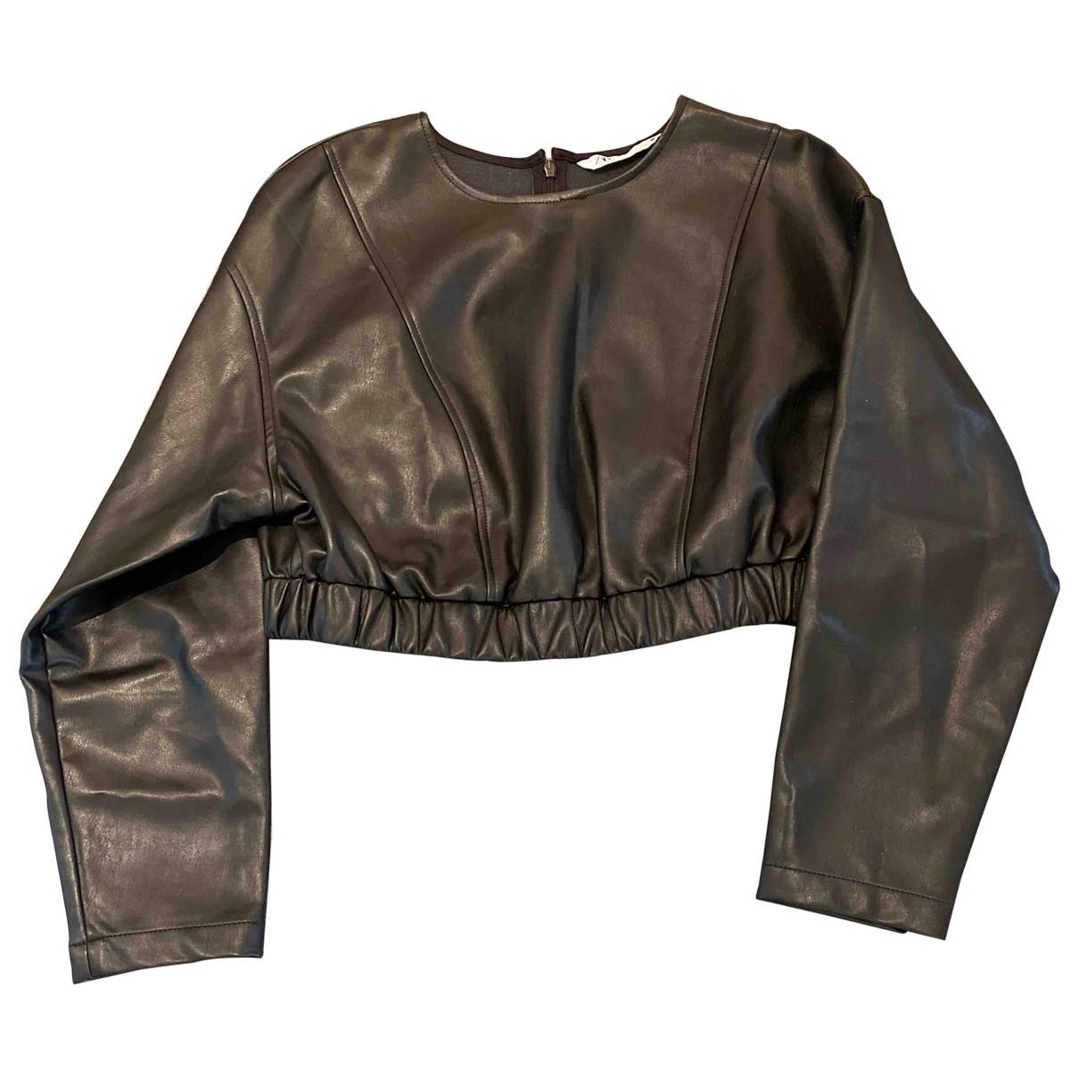 Zara \N Black Leather  top for Women M International