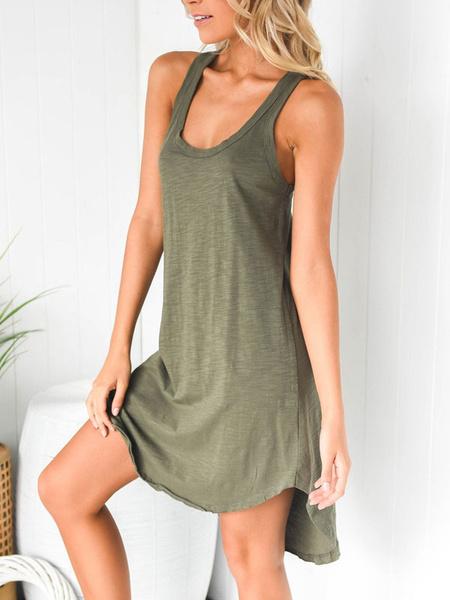 Milanoo Maxi Dress Sleeveless Green U Neck Summer Stretch Polyester Long Dress