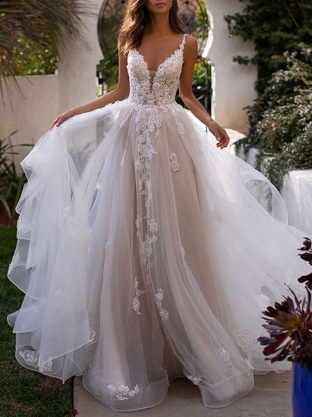 Milanoo Wedding Dresses A Line V Neck Sleeveless Lace Appliqued Bridal Gowns With Train