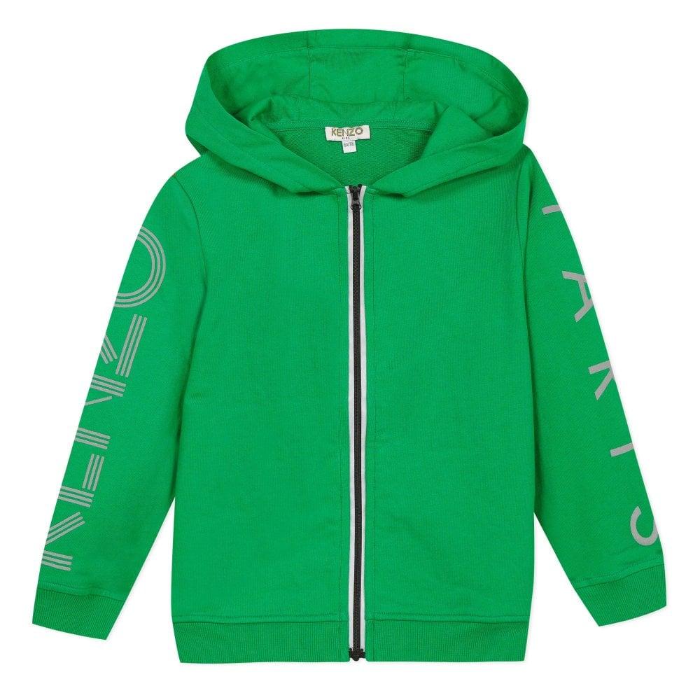 Kenzo Kids Paris Logo Zip Hoodie Green Colour: GREEN, Size: 10 YEARS