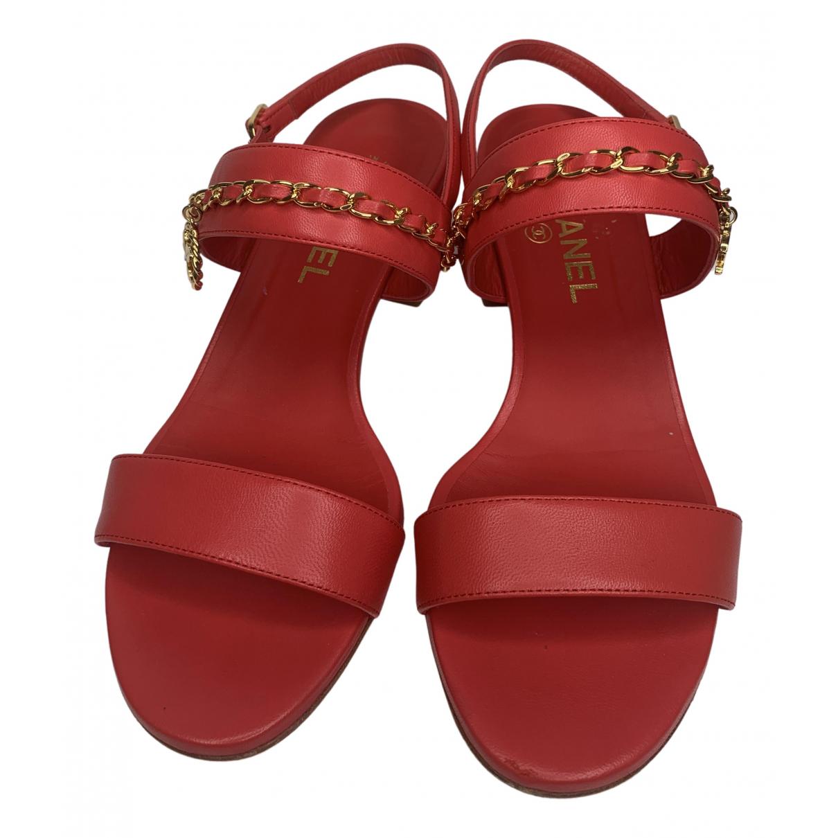Chanel - Sandales   pour femme en cuir - rouge