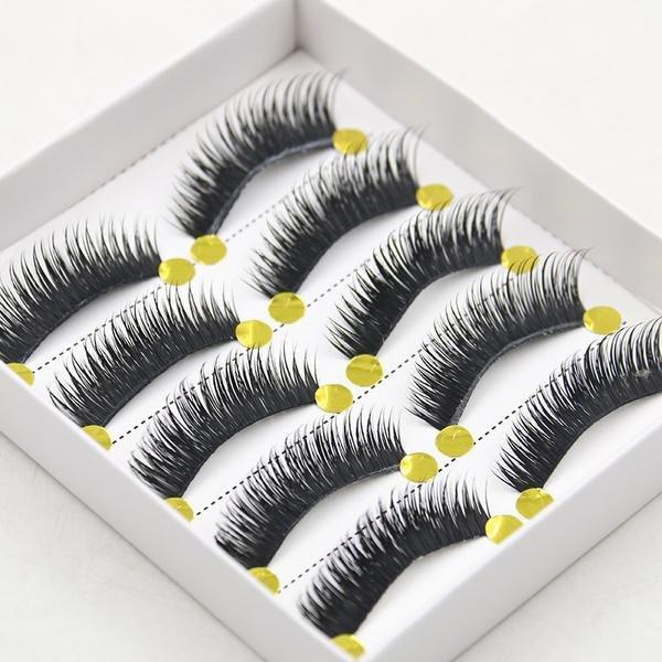 5 Pairs Handmade Eyelashes Crisscross Thick Natural Fake Eye Lashes 3D Eye Makeup Eye Lash