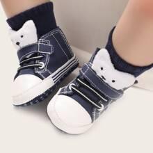 Baby Boy Velcro Strap Cartoon Graphic Sneakers