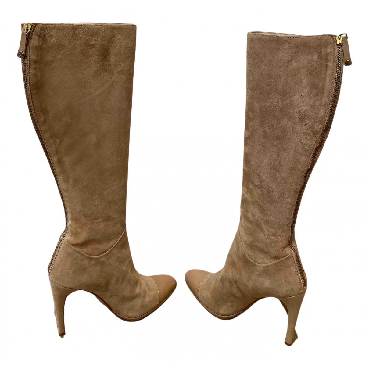 Lk Bennett - Bottes   pour femme en velours - beige