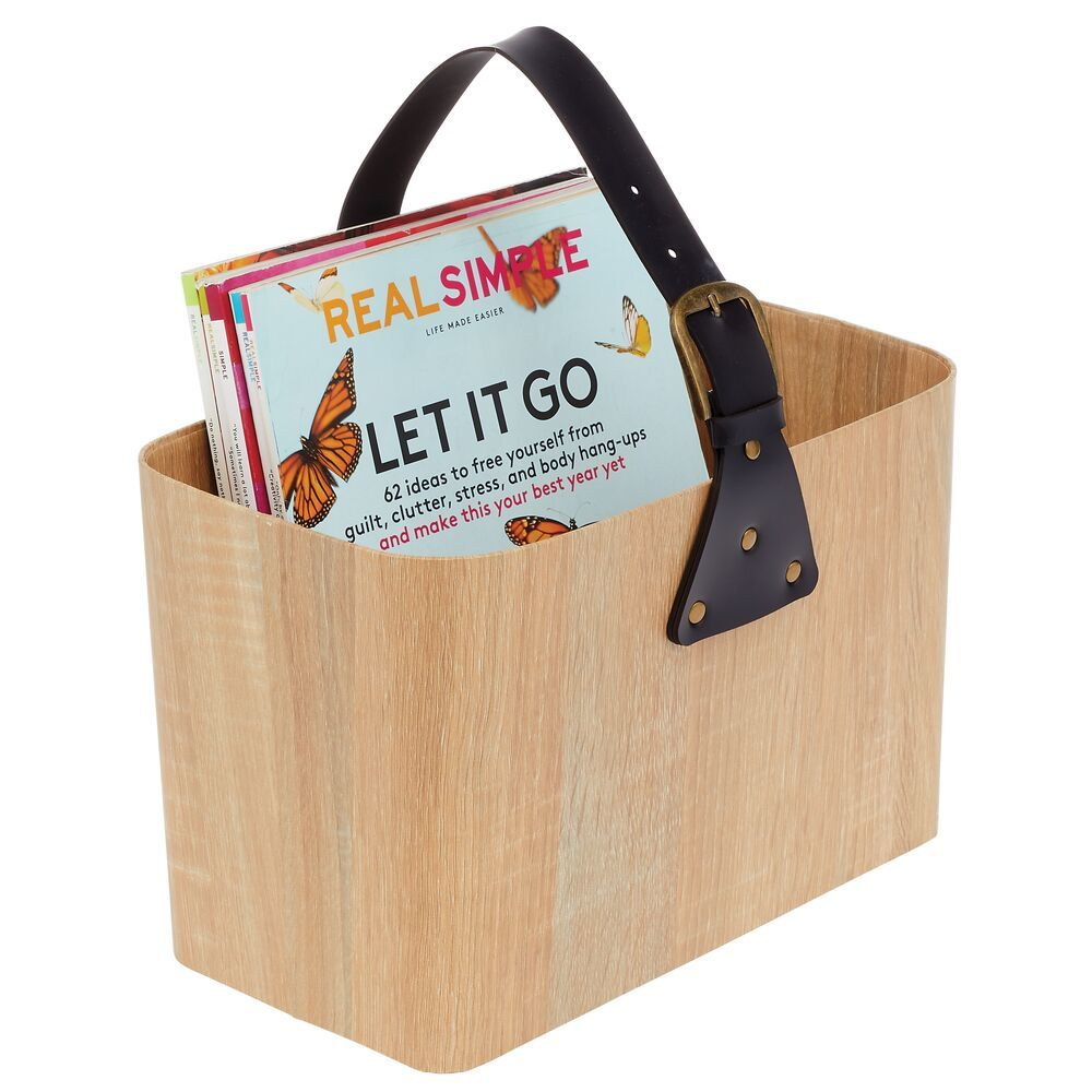 Large Rectangular Wood Basket with Attached Handle for Office 13.4