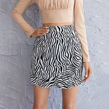 Asymmetrical Ruffle Hem Zebra Striped Skirt