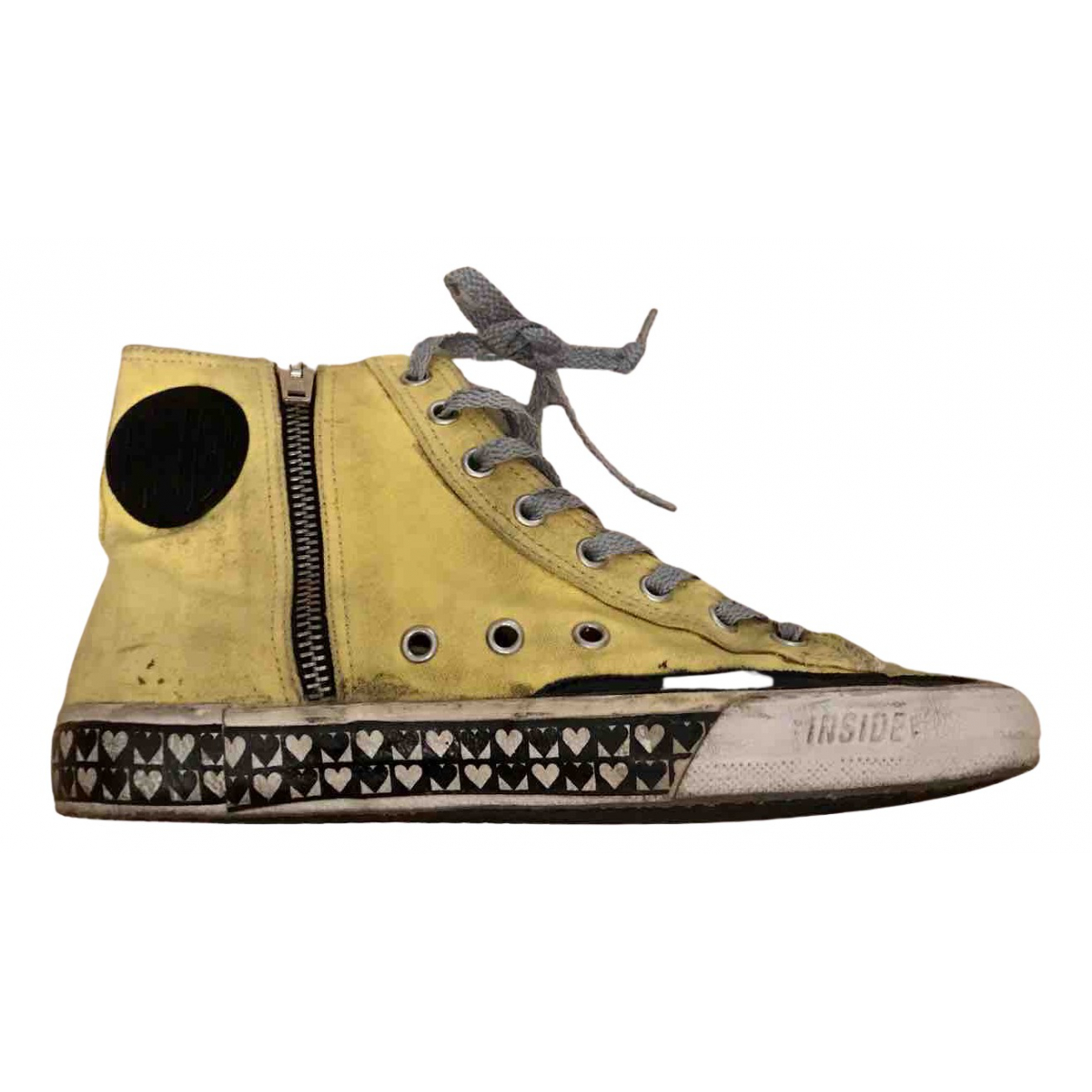 Golden Goose - Baskets Francy pour femme en toile - jaune