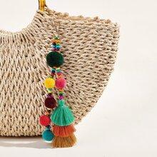 Colorblock Pom-pom & Tassel Decor Bag Charm