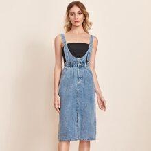 Denim Overall Kleid mit Schnalle, Riemen und Schlitz