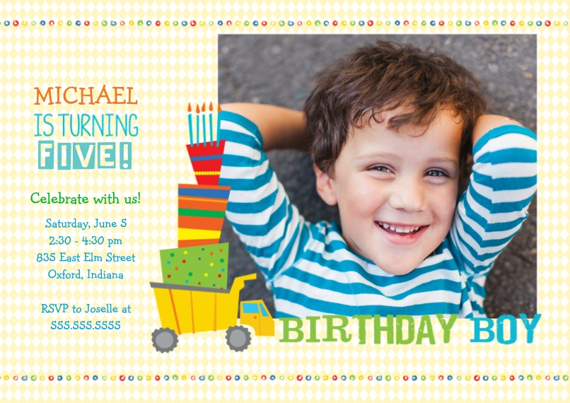 Kids Birthday Party 5x7 Cards, Premium Cardstock 120lb with Scalloped Corners, Card & Stationery -Birthday Boy Truck
