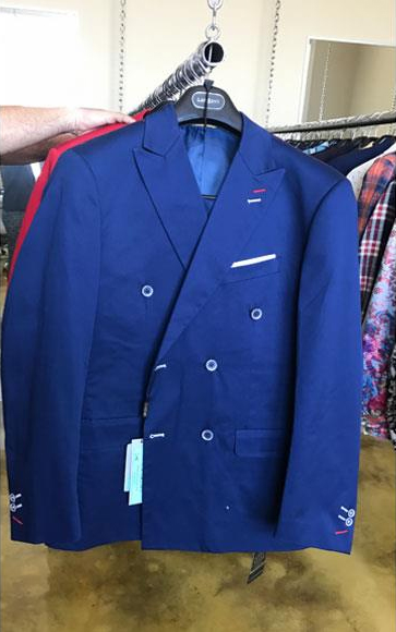 Mens Cotton Fabric Double breasted Navy suit