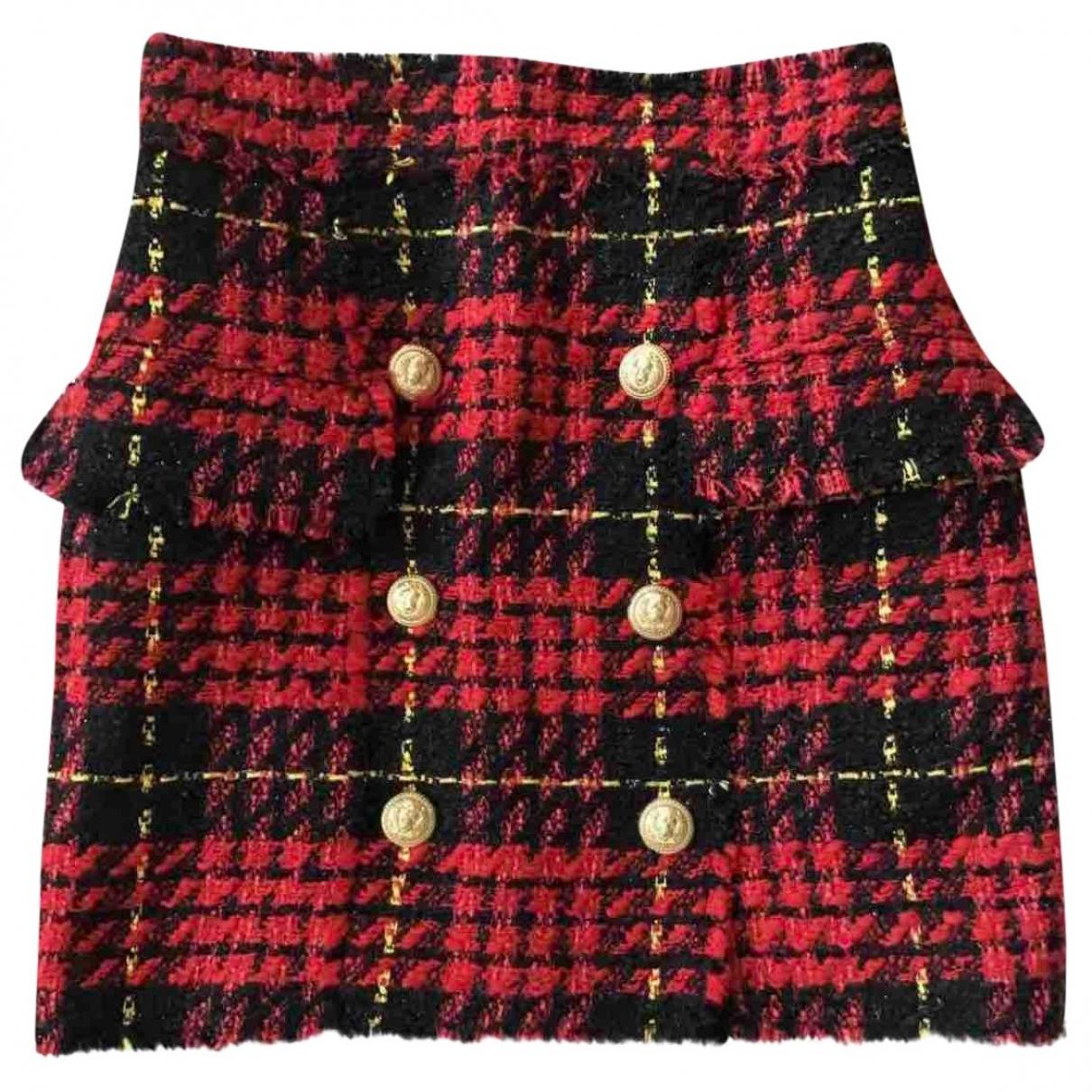 Balmain \N Red Tweed skirt for Women 40 FR
