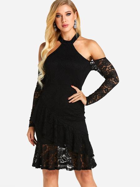 Yoins Black See-through Plain Cold Shoulder Halter Long Sleeves Lace Dress
