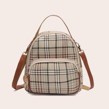 Pocket Front Curved Top Plaid Backpack