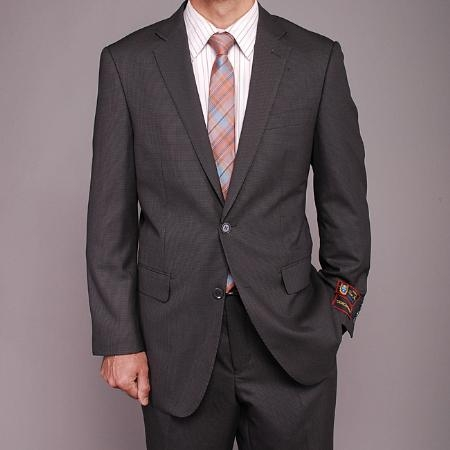 2 Button Gray Houndstooth Suit Mens Cheap
