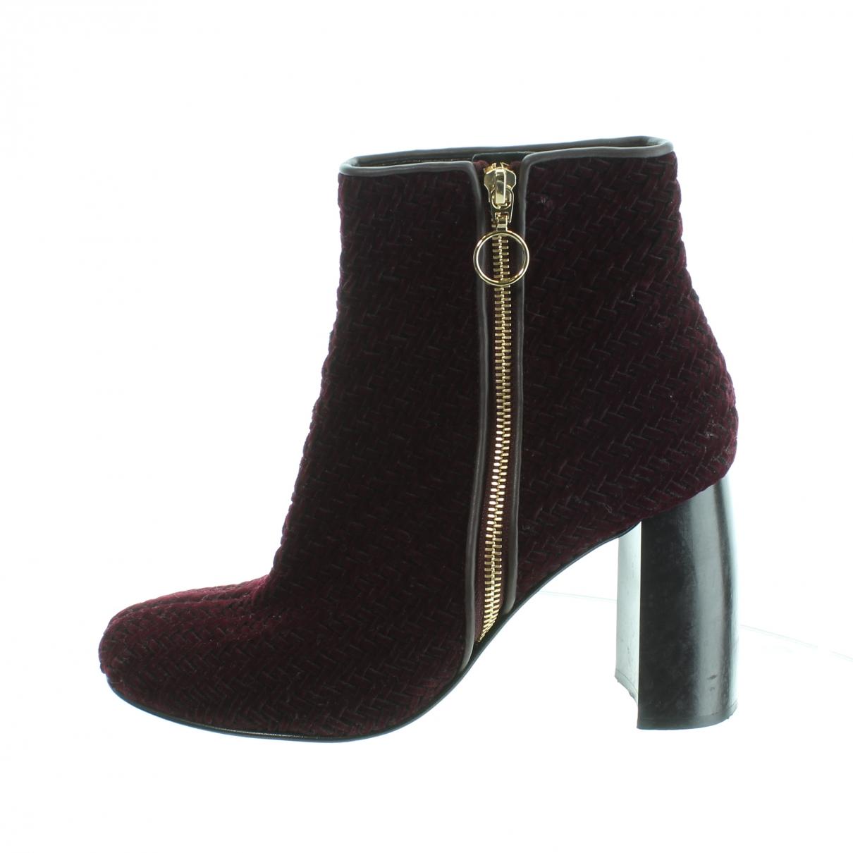 Stella Mccartney - Boots   pour femme en velours - bordeaux