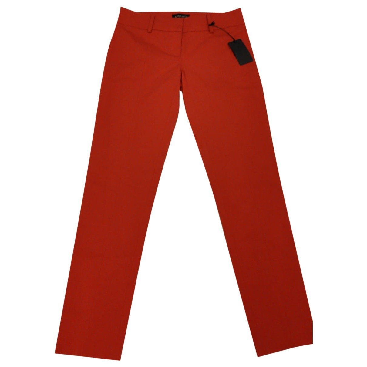 Patrizia Pepe \N Red Cotton Trousers for Women 42 FR
