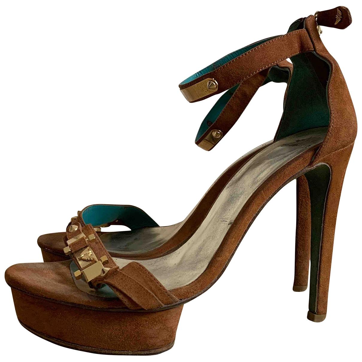 - Sandales   pour femme en suede - camel