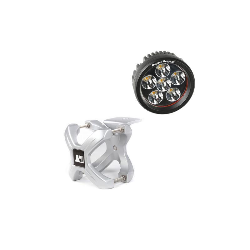 Rugged Ridge 15210.13 Light Kit, X-Clamp/Round LED, Large, Silver, 1 Piece